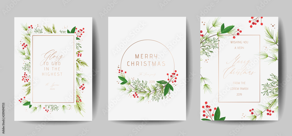 Fototapeta Set of Elegant Merry Christmas and New Year 2020 Cards with Pine Wreath, Mistletoe, Winter plants design illustration for greetings, invitation 2019, flyer, brochure, cover in vector