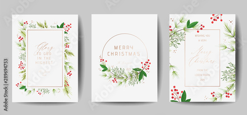 Canvas Prints Wall Decor With Your Own Photos Set of Elegant Merry Christmas and New Year 2020 Cards with Pine Wreath, Mistletoe, Winter plants design illustration for greetings, invitation 2019, flyer, brochure, cover in vector