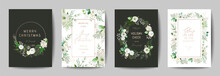 Elegant Merry Christmas And New Year 2020 Card With Pine Wreath, Mistletoe, Winter Plants Design Illustration For Greetings, Invitation 2019, Flyer, Brochure, Cover In Vector