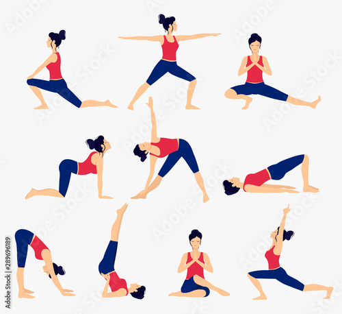 Various yoga poses set Canvas Print