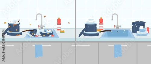 Cuadros en Lienzo  Clean and dirty dishes in the kitchen sink flat vector illustration isolated