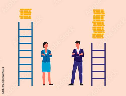 Fotomural Unequal career and gender discrimination flat vector illustration isolated