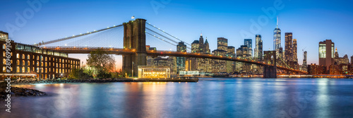 Wall Murals New York Brooklyn Bridge panorama with Manhattan skyline in New York City, USA