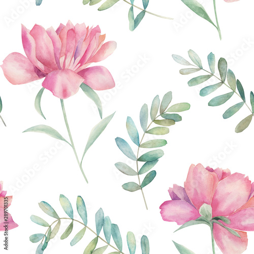 Watercolor seamless pattern. Vintage print with peony flowers and eucalyptus branches. Hand drawn illustration - 289701335