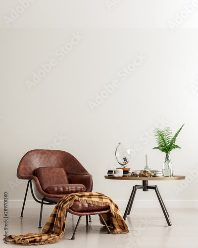 Fototapeta Mock up wall with brown leather chair and metal table in modern interior background, living room, moment for contemplation, Scandinavian style, 3D render, 3D illustration obraz