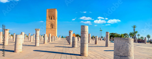 Poster Maroc Hassan Tower, minaret of an incomplete mosque in Rabat, Morocco