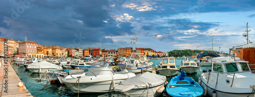 Poster Taupe Harbour and marina of Rovinj town. Istria, Croatia