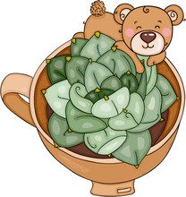 Little Teddy Bear In A Tea Cup With Green Cactus