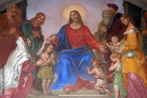 Jesus blesses the children, frescoed lunette, Ospedale degli Innocenti - Exterio Fototapet