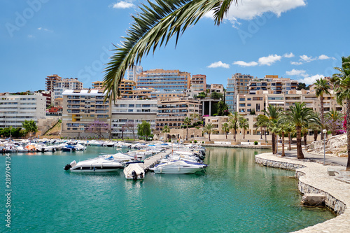 Picturesque view to marina in the Palma de Mallorca, Balearic Islands, Spain