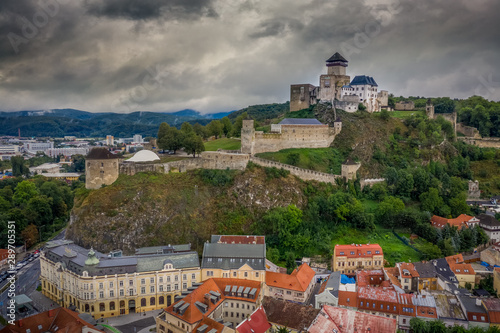 Staande foto Oude gebouw Aerial panorama view of Trencin castle with medieval donjon in Slovakia above the Vah river