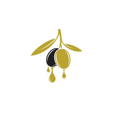 Olive Oil. Logo. Black And Green Olives On White Background