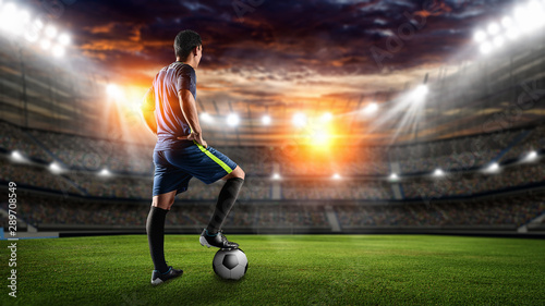 Stampa su Tela Soccer players in action on sunset stadium background