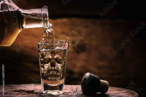 Fotografie, Obraz  Drink bottle and glass with alcohol content