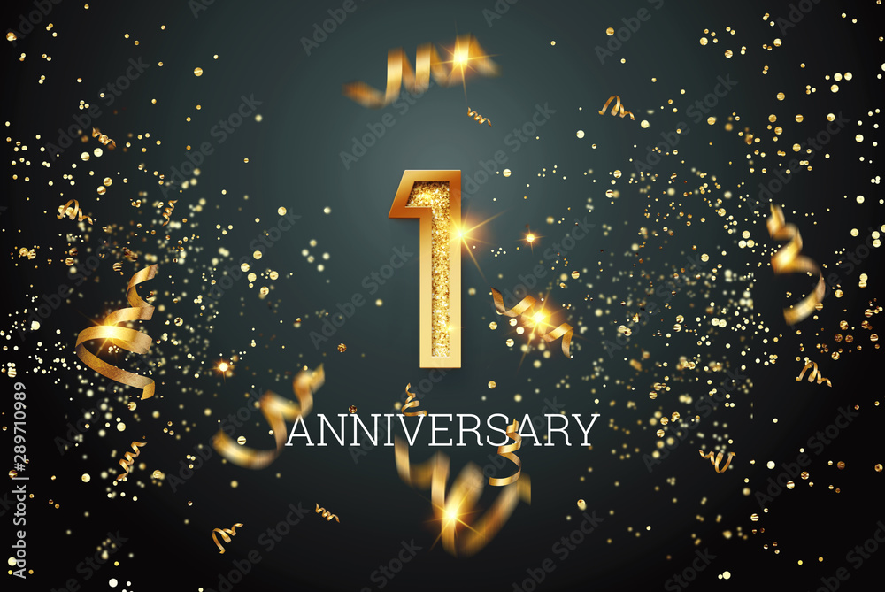 Fototapeta Golden numbers, 1 years anniversary celebration on dark background and confetti. celebration template, flyer. 3D illustration, 3D rendering