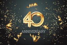 Golden Numbers, 40 Years Anniversary Celebration On Dark Background And Confetti. Celebration Template, Flyer. 3D Illustration, 3D Rendering