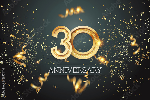 Fotomural Golden numbers, 30 years anniversary celebration on dark background and confetti