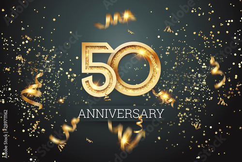 Fotografia  Golden numbers, 50 years anniversary celebration on dark background and confetti
