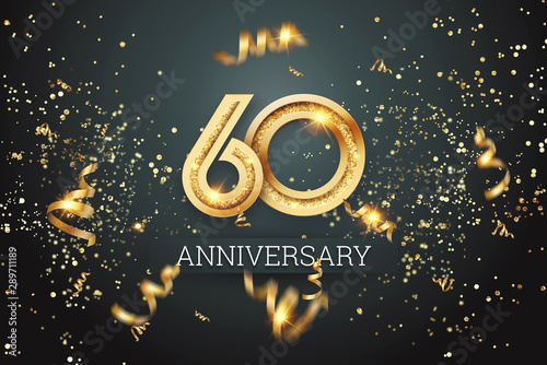 Golden numbers, 60 years anniversary celebration on dark background and confetti Tableau sur Toile