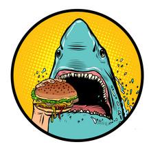 Hungry Shark Eat The Burger