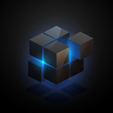Abstract Black Cube With Blue Light