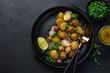 baby potatoes salad with green peas and radish