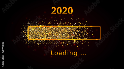 Fotomural  2020 New Year with bright shiny loading progress bar, golden glitter and sparkles