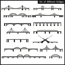 Set Of Different Bridges On A White Background