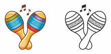 Maracas. Maraca. Percussion Musik Instrument Maraca. Percussion. Rhythm Percussion. Musical Toy. Design Elements Set. Black And Color Vector Illustration For Coloring Book. Outline Silhouette Line.