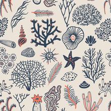 Sea Set Seamless Pattern With ...