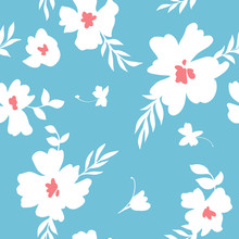 Seamless Pattern Made Of Abstract Simple Flowers. Flat Floral Ornament. Minimalistic Botanical Elements. Nature Background For Fashion, Textile Design, Fabric, Clothing, Wrapper, Surface.