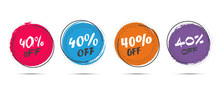 Set Of Grunge Sticker With 40 Percent Off In A Flat Design With Halftone. For Sale, Promotion, Advertising