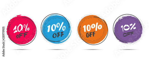 Fotomural Set of grunge sticker with 10 percent off in a flat design with halftone
