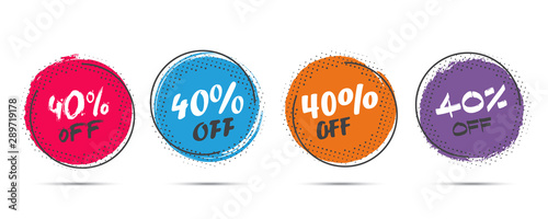 Cuadros en Lienzo Set of grunge sticker with 40 percent off in a flat design with halftone