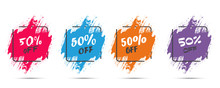 Set Of Grunge Sticker With 50 Percent Off In A Flat Design With Halftone. For Sale, Promotion, Advertising