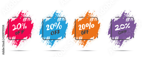 Set of grunge sticker with 20 percent off in a flat design with halftone Canvas Print