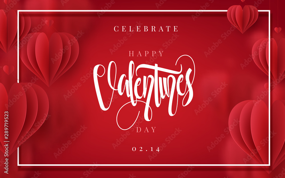 Fototapeta Happy Valentines Day romance greeting card with 3D hearts. Vector illustration