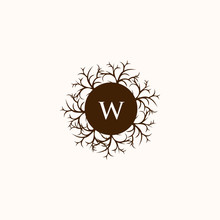 Letter W Circle Wooden Root Creative Logo