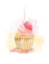 Watercolor Painting Of Cupcake...