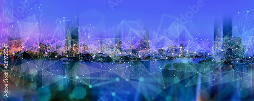 Wireless network and Connection technology concept with Abstract Bangkok city background in panorama view - 289725347