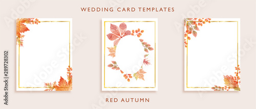 Elegant wedding card templates design. Concept for watercolor wild leaves in red color theme autumn season. Aim used for wedding card, invitation card, postcard, and more.  - 289728302