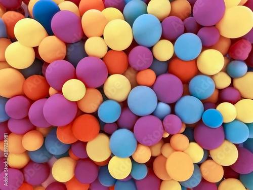 Obraz na plátně  Many colorful festive balloons decorated wall as background