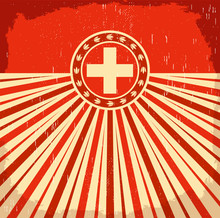 Switzerland Vintage Old Card With Swiss Flag Colors, Vector Holiday Decoration