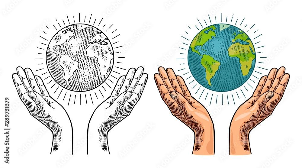 Fototapety, obrazy: Earth planet in open female human palms. Vector black vintage engrav