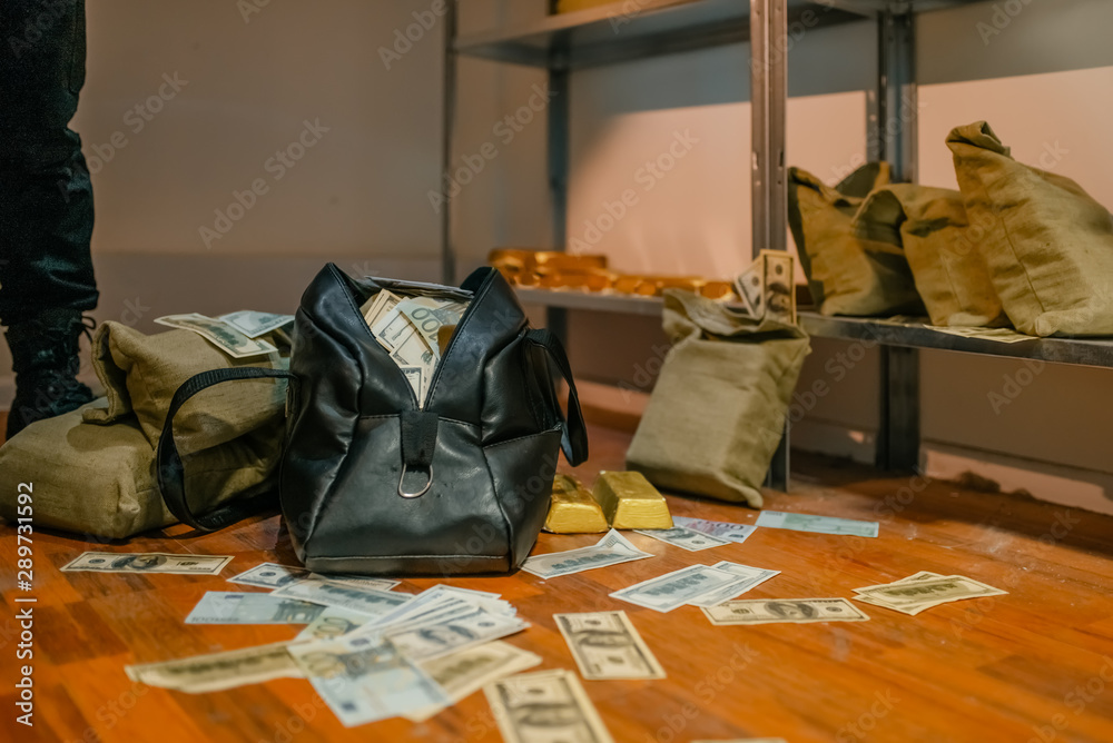 Fototapeta Bank robbery, bags full of money and gold