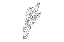 Traditional Tattoo With Rose Flower And Dagger Knife.