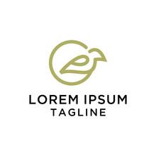 Letter E With Bird Logo Design Vector
