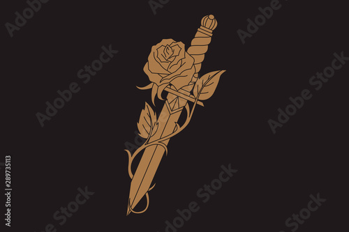 Foto Traditional tattoo with rose flower and dagger knife.