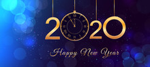 Happy New Year 2020 Text Design With Hanging Shiny Golden Numbers And Vintage Clock On Abstract Blue Background With Bokeh Effect And Glitter. Holiday Banner, Poster, Card Or Invitation Template