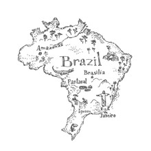 Brazil Map With Symbols And Landmarks. Vector Vintage Hand Drawn Illustration. Black And White Sketch